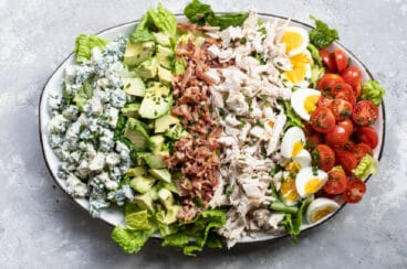 Cobb salad on an oval platter.