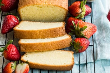 An angled shot of easy pound cake slices on a cooking rack.