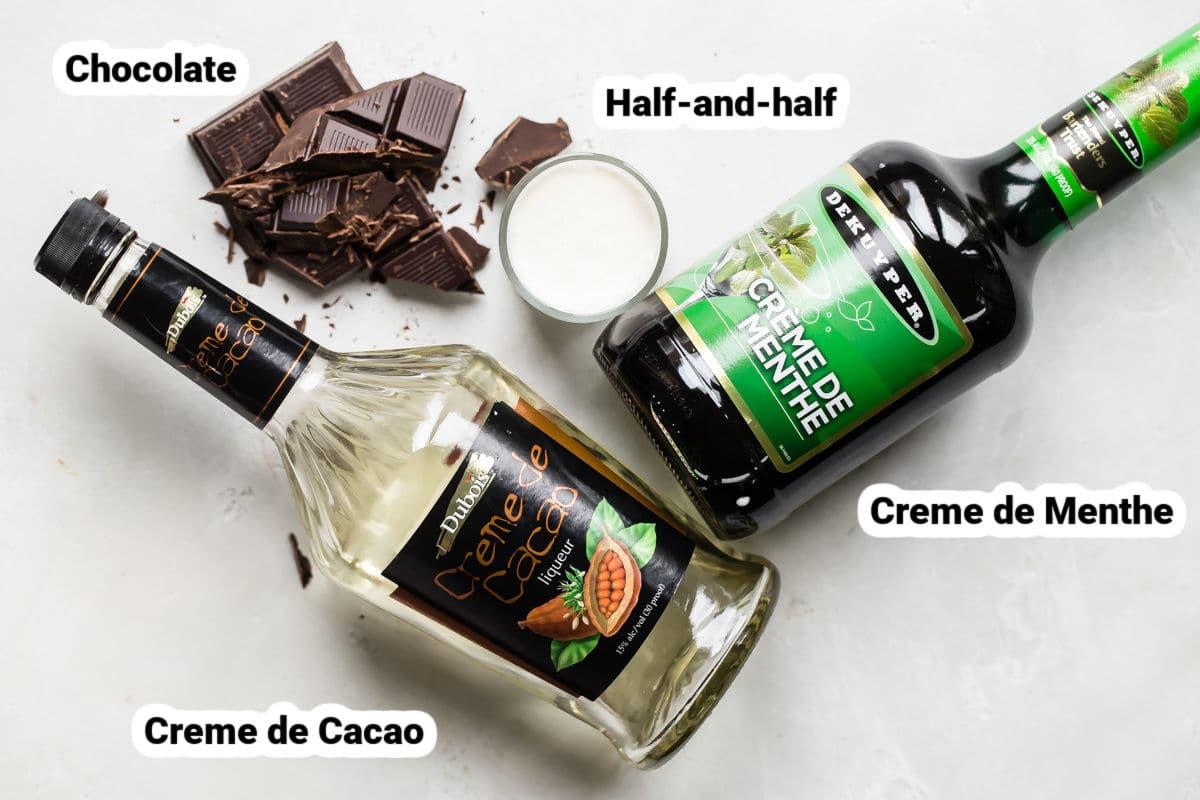 Grasshopper cocktail ingredients.