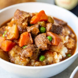 A bowl of Guinness Stew.
