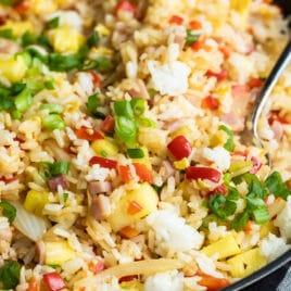 A skillet full of Hawaiian fried rice.