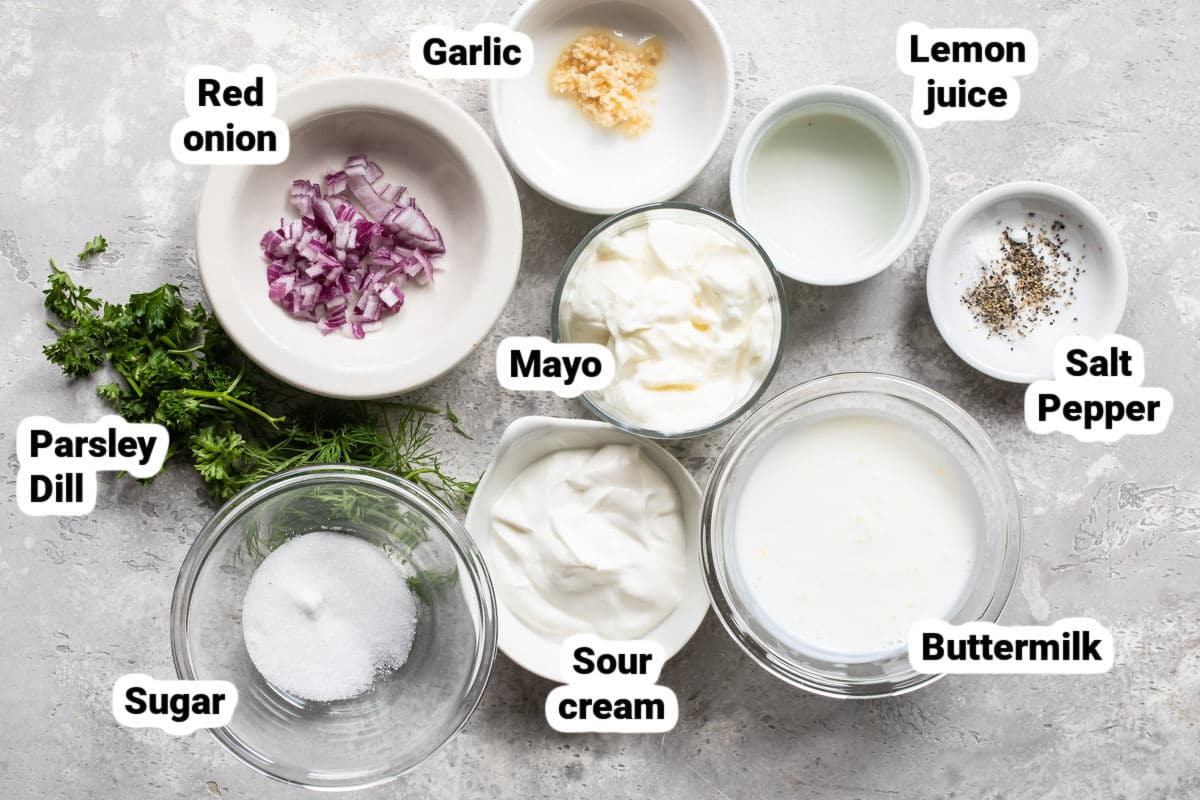 Ranch dressing ingredients.
