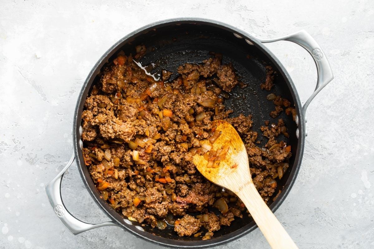 Hot dog chili in a saucepan.