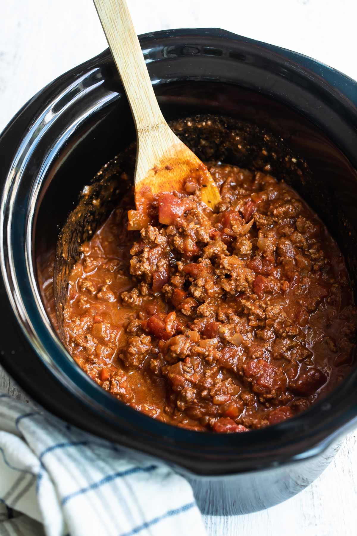 Hot dog chili in a crock pot.