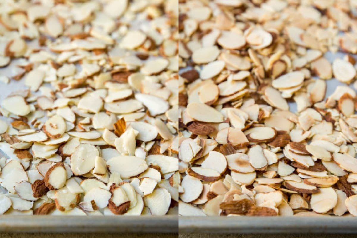 Sliced almonds before and after roasting.