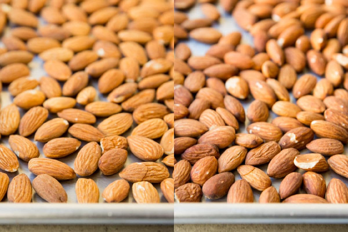 Whole almonds before and after roasting.