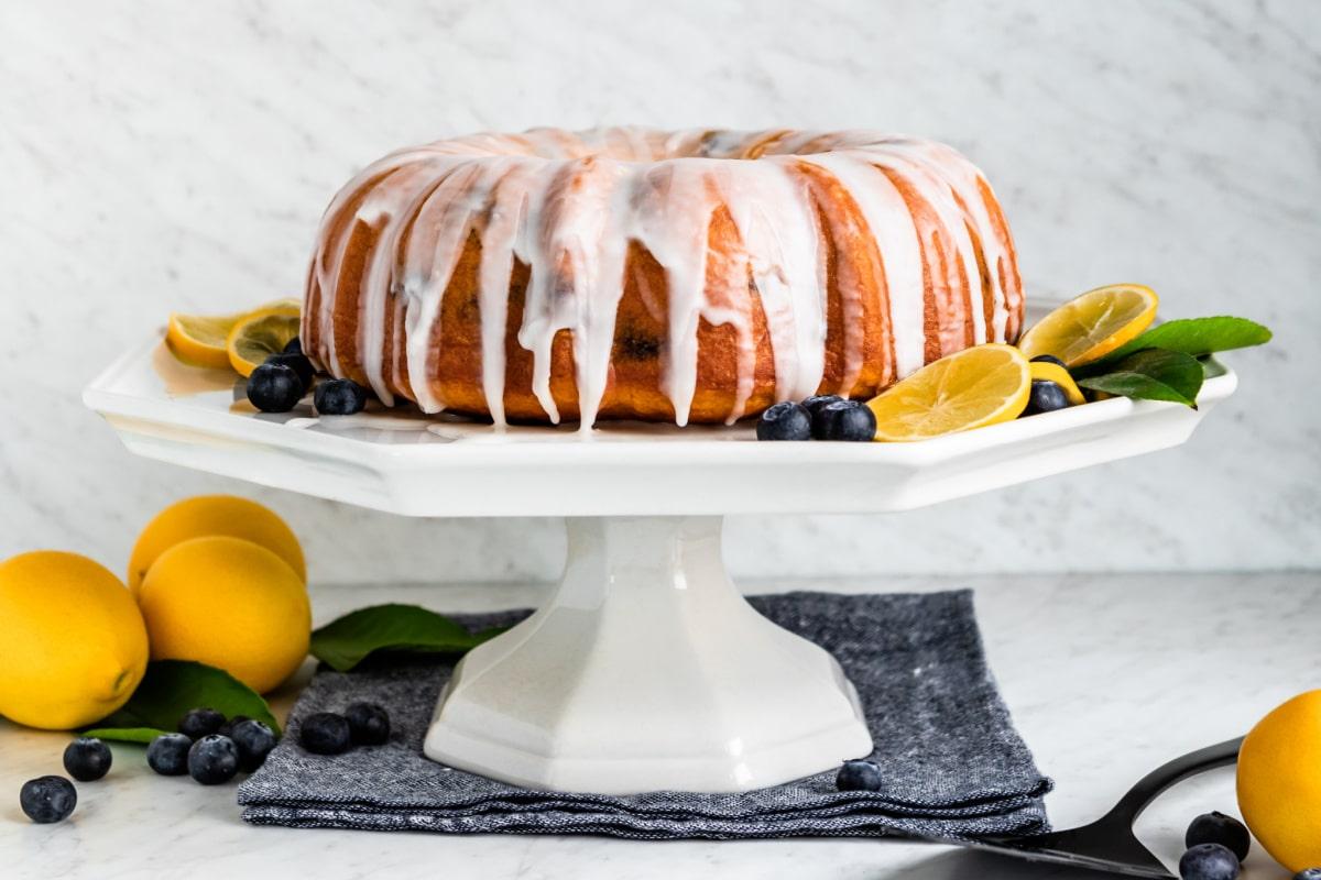Blueberry lemon cake with powdered sugar icing.