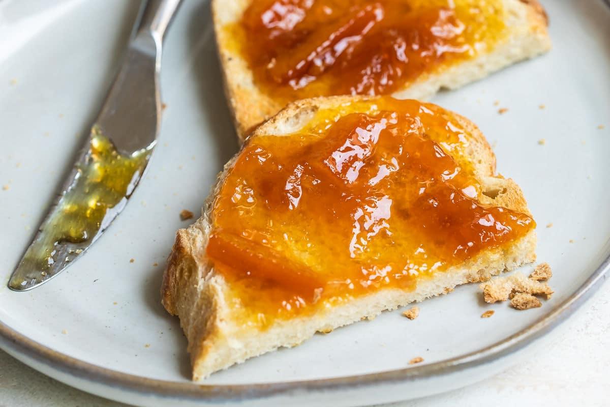 Orange marmalade on toast.
