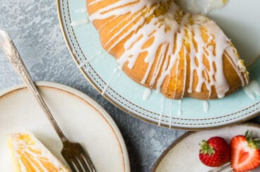 Lemon bundt cake slices on plates.