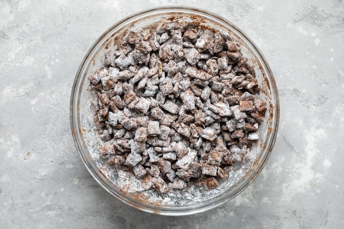 Puppy chow in a bowl.