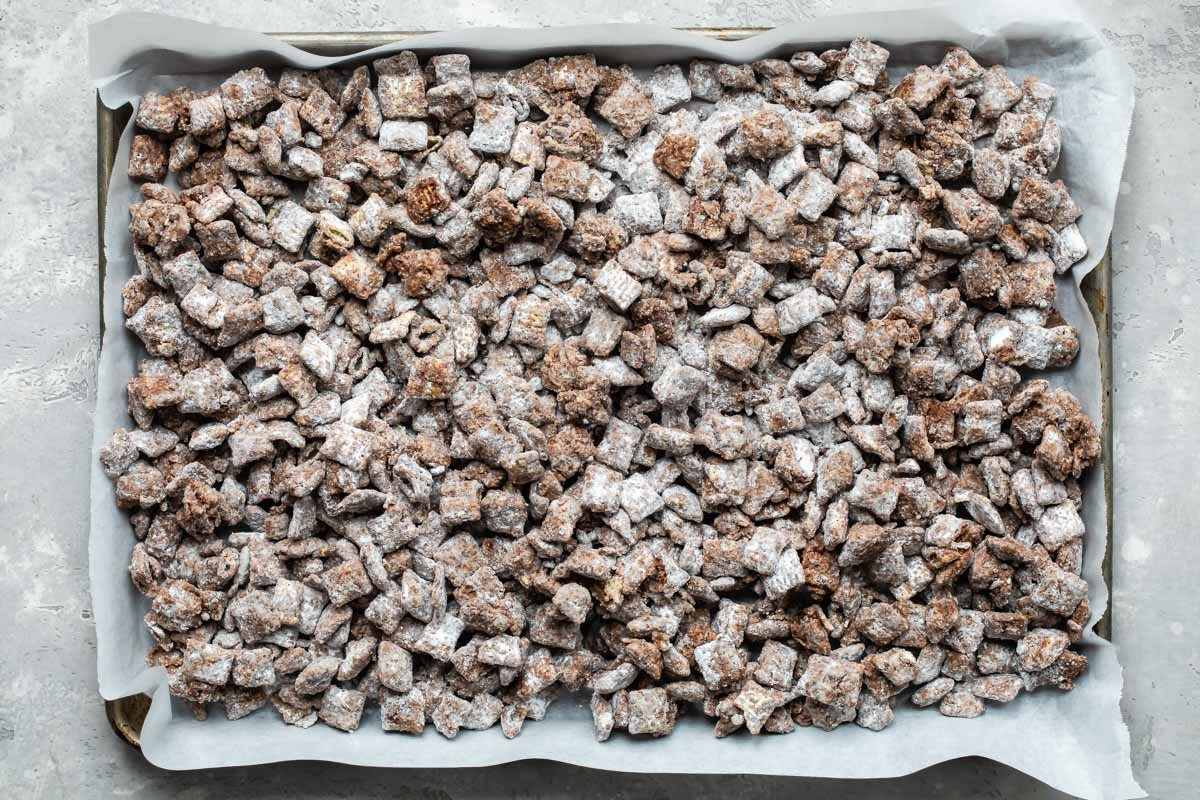 Puppy chow on a baking sheet.