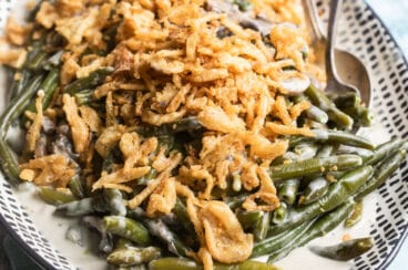 Green bean casserole on a platter.