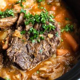 Pot roast in a slow cooker.