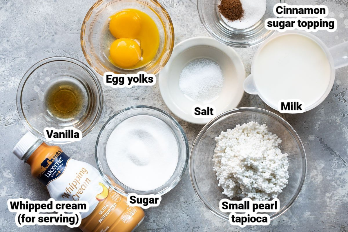 Labeled ingredients for tapioca pudding in various bowls.