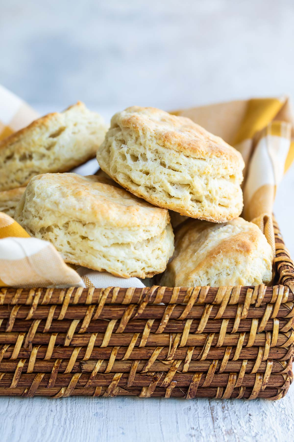 A basket of homemade biscuits.
