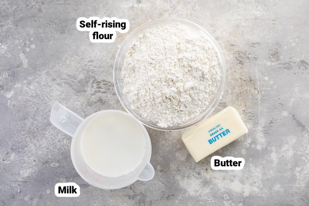 Ingredients for 3-ingredient biscuits.
