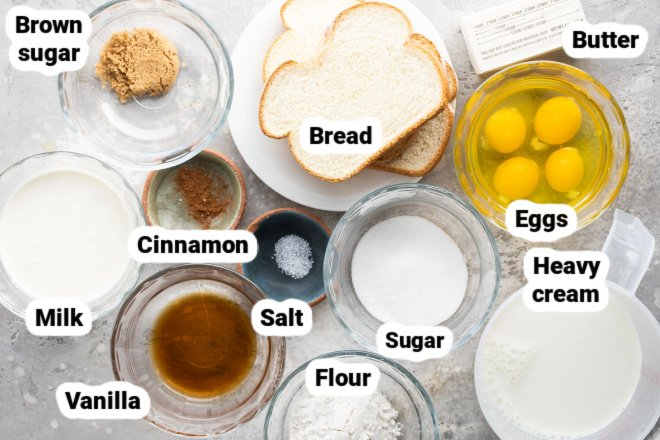 Labeled ingredients for baked french toast.