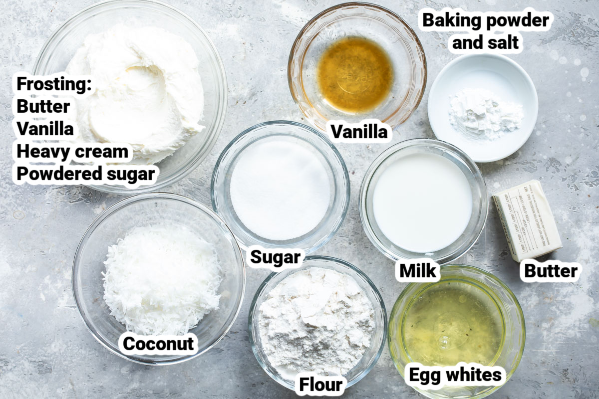 Labeled ingredients for bunny cake.