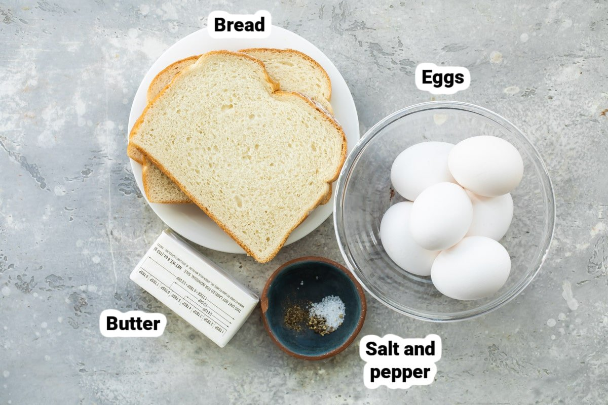 Labeled eggs in a basket ingredients.