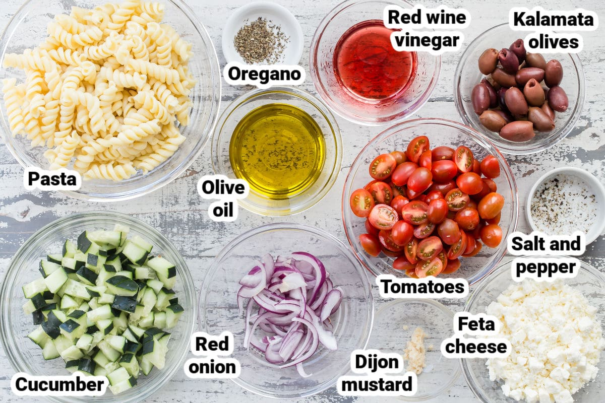 Ingredients for Greek Pasta Salad.