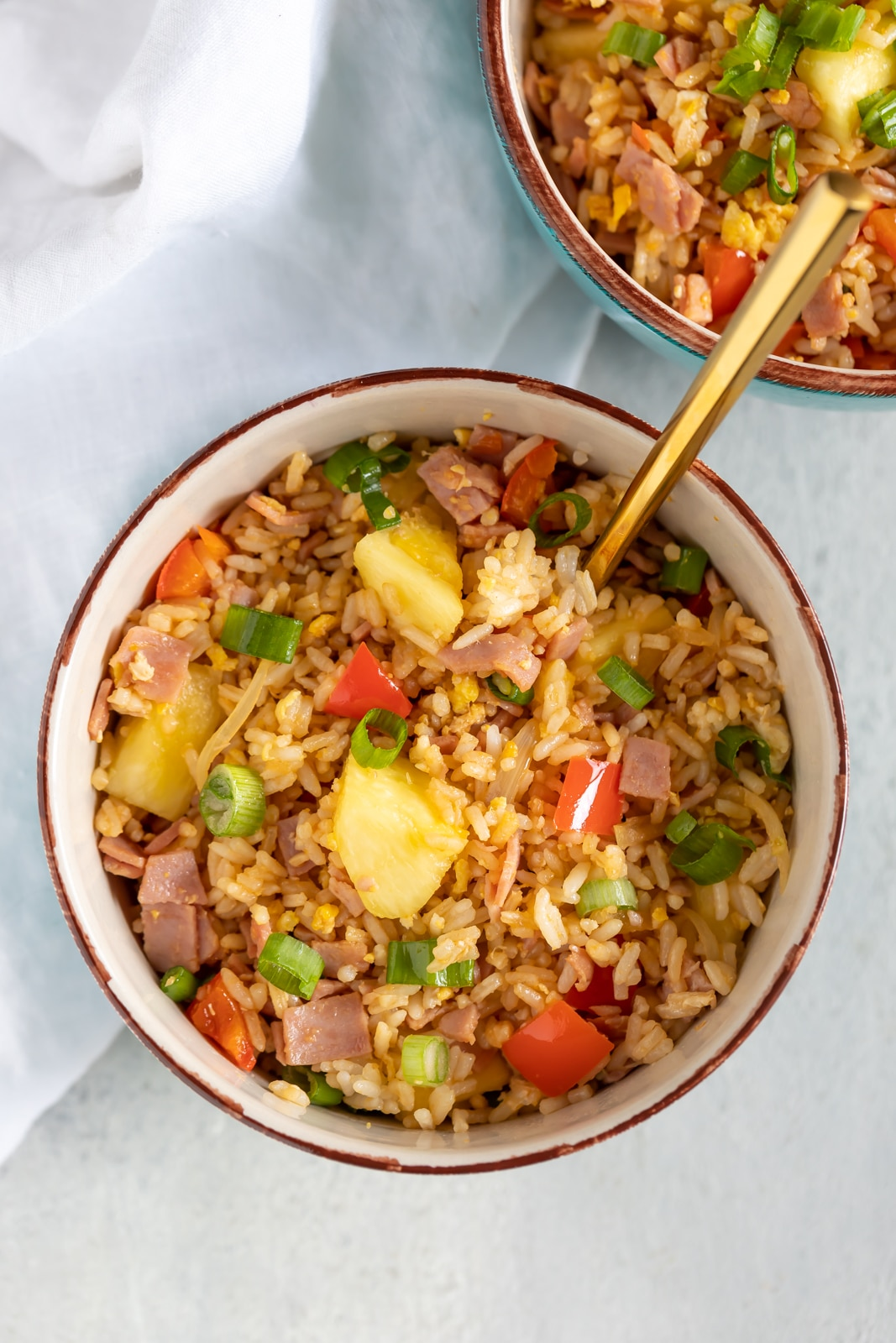 Hawaiian Fried Rice in a blue bowl.