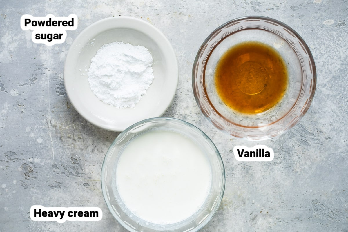 Whipped cream ingredients.