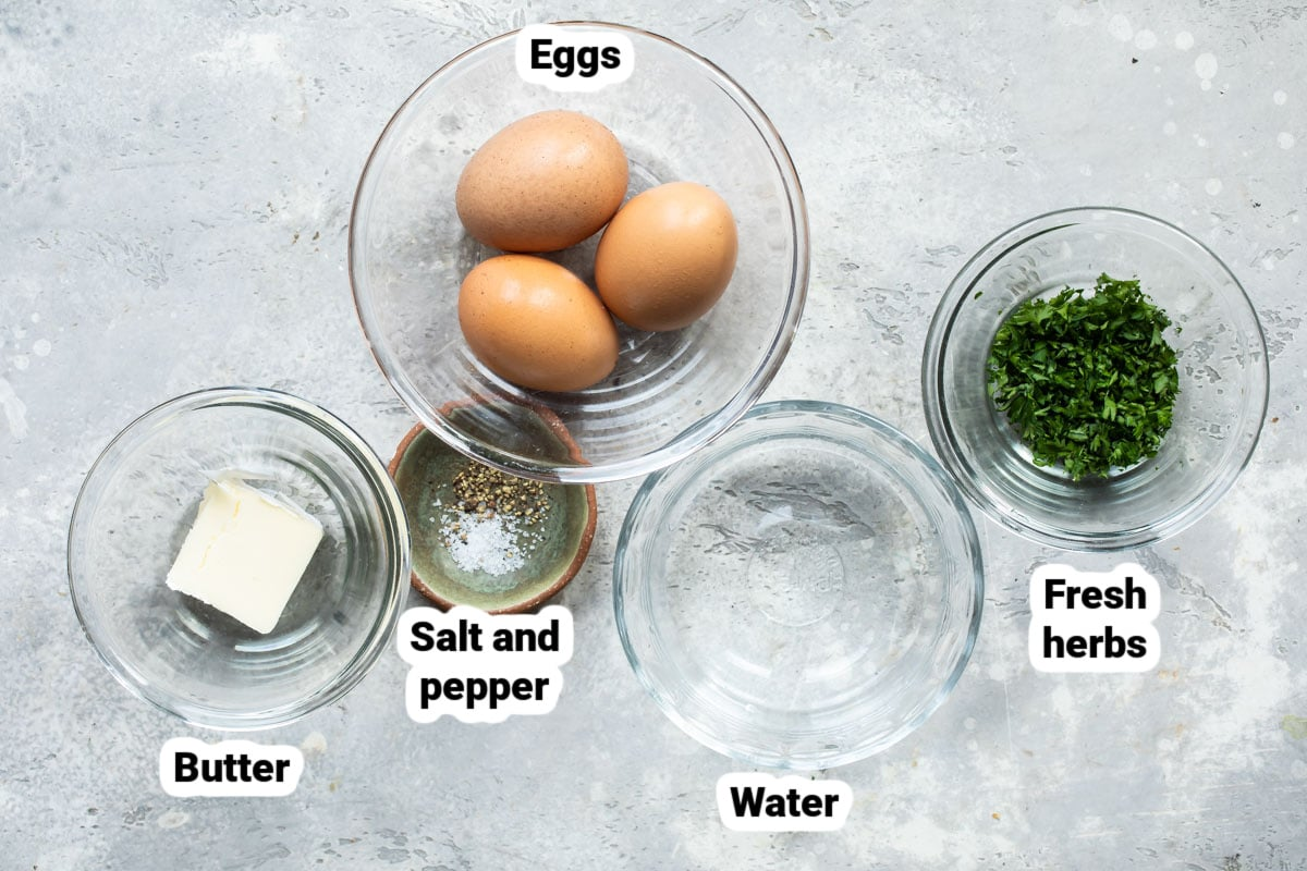 Labeled ingredients for how to make an omelet.