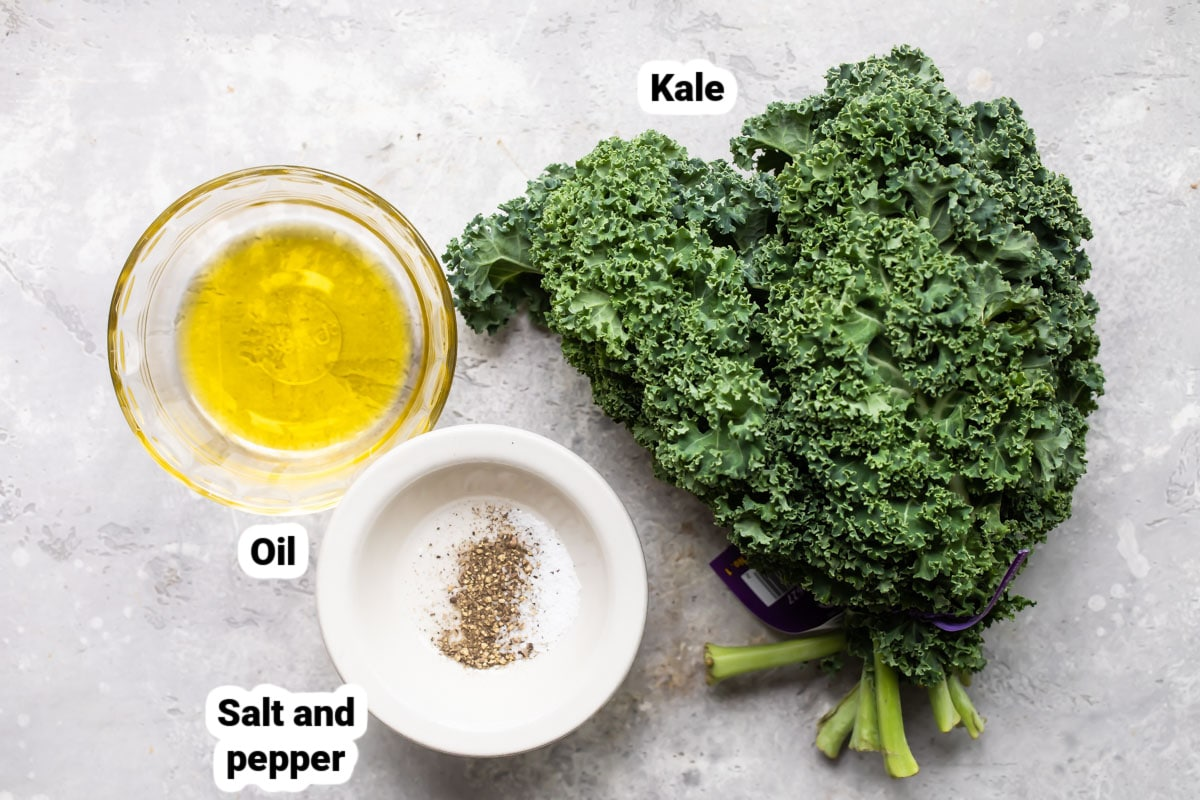 The ingredients for kale chips.