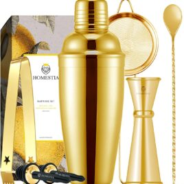 Gold martini shaker set with tools