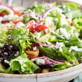 A bowl of Mediterranean chopped salad.