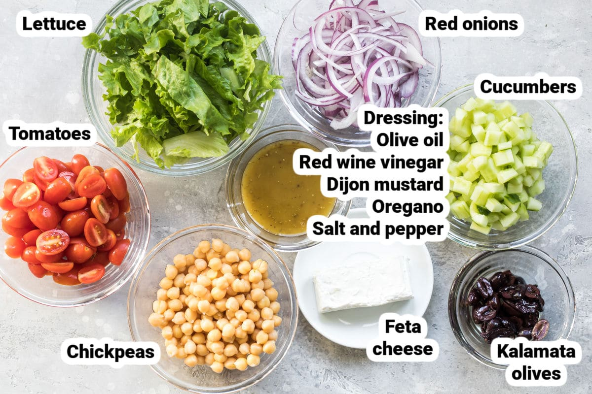Ingredients for Mediterranean chopped salad.