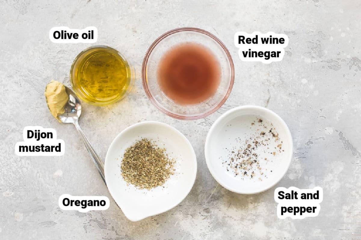 Red wine vinaigrette ingredients.