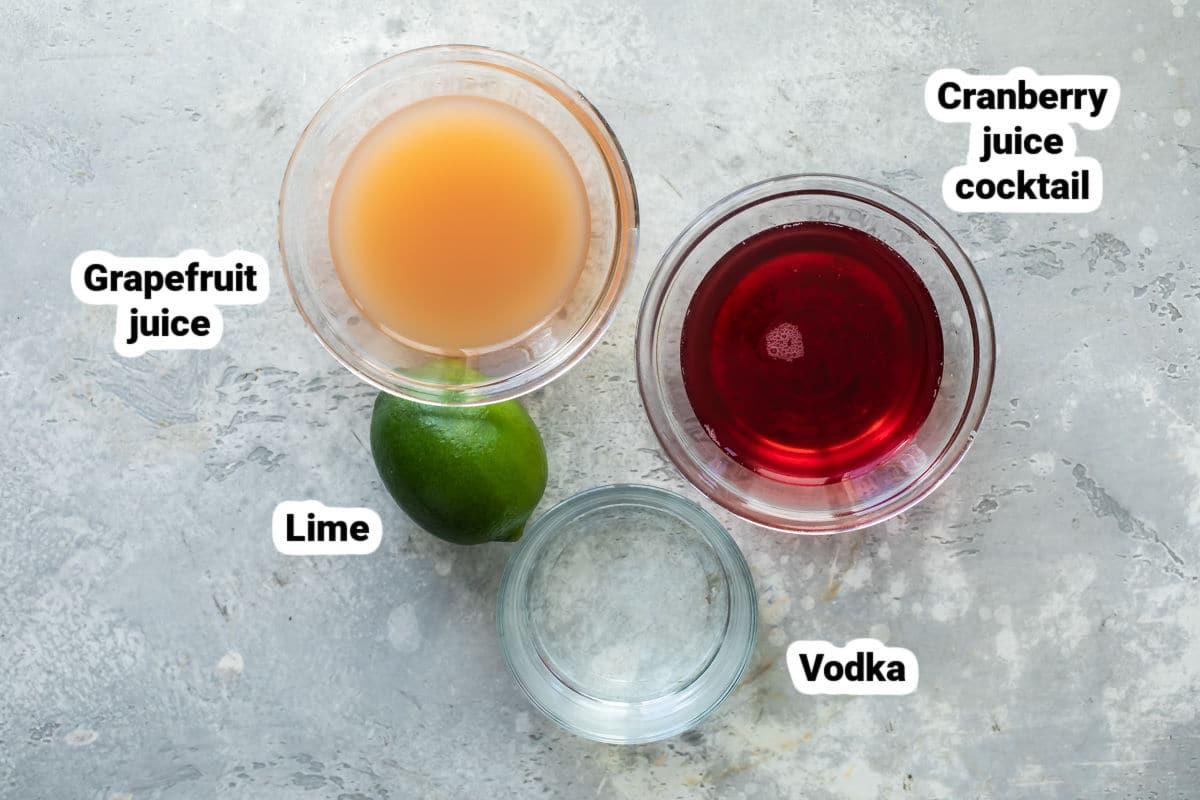Sea Breeze cocktail ingredients.