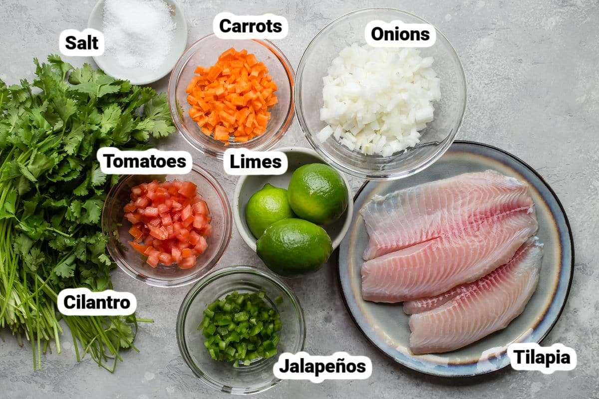 Ceviche ingredients in bowls.