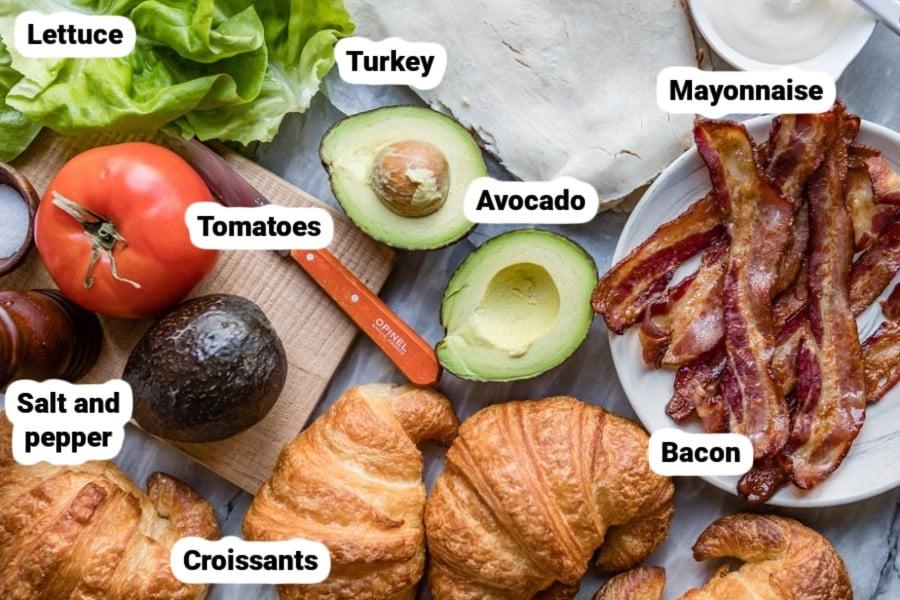 Turkey BLT Croissant sandwich ingredients.