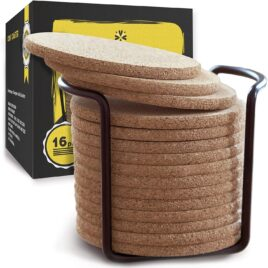 4-inch Cork Coasters with stand (16 pcs)