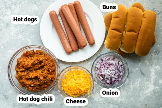 Labeled ingredients for chili dogs.