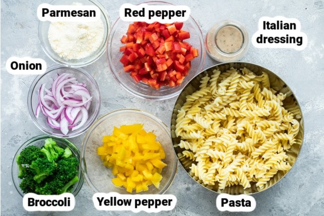 Labeled ingredients for easy cold pasta salad.