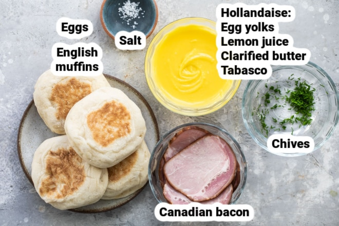 Labeled ingredients for eggs benedict.