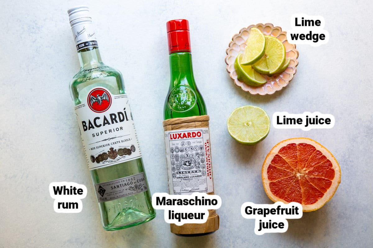 Labeled Hemingway Daiquiri ingredients.