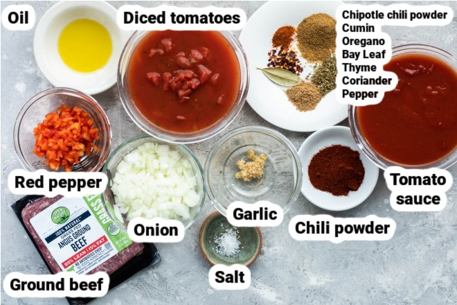 Labeled ingredients for hot dog chili.