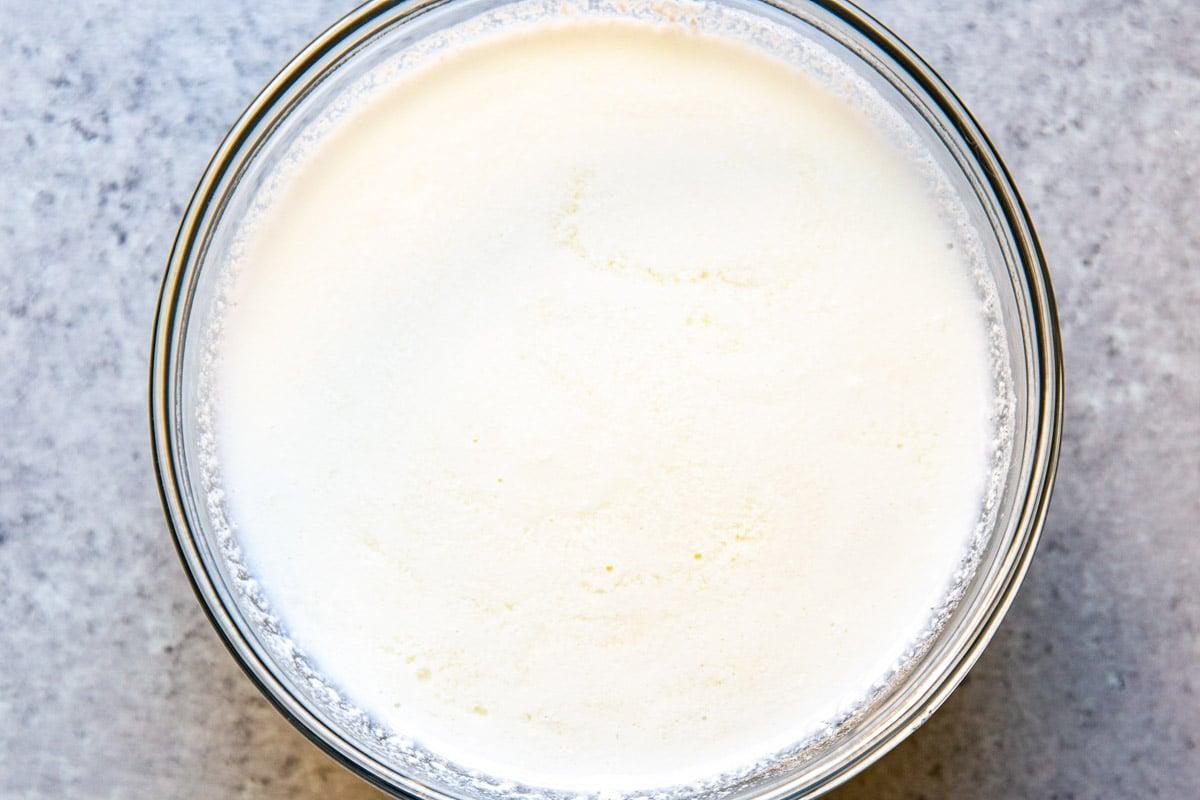 A bowl of buttermilk.