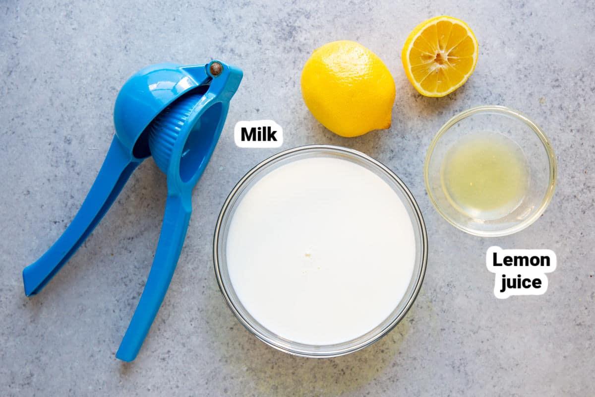 Ingredients to make homemade buttermilk.