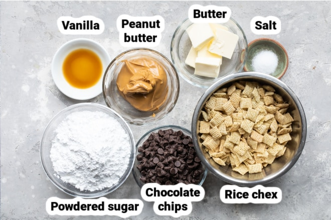 Labeled ingredients for puppy chow.