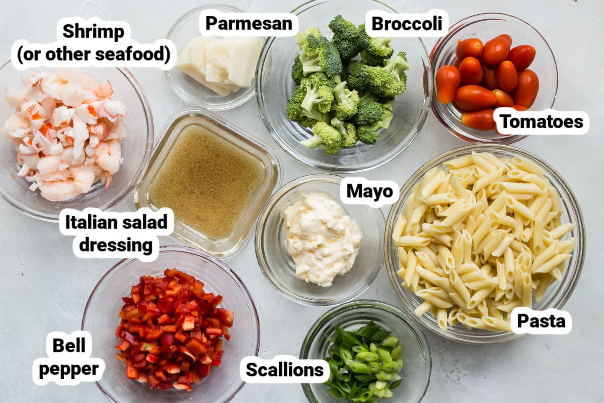 Ingredients for seafood salad.