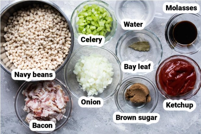 Labeled ingredients for slow cooker baked beans.