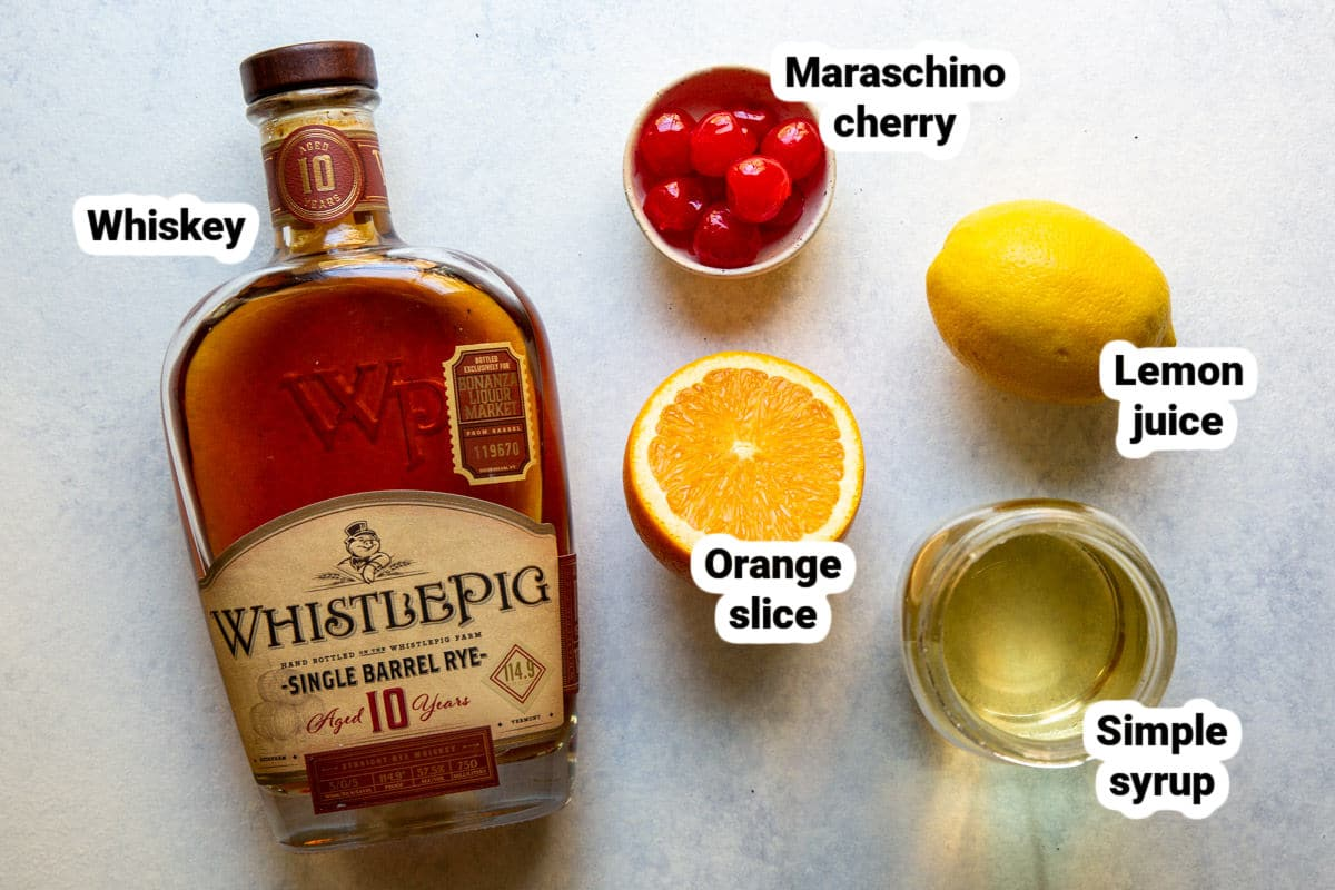 Labeled whiskey sour ingredients.