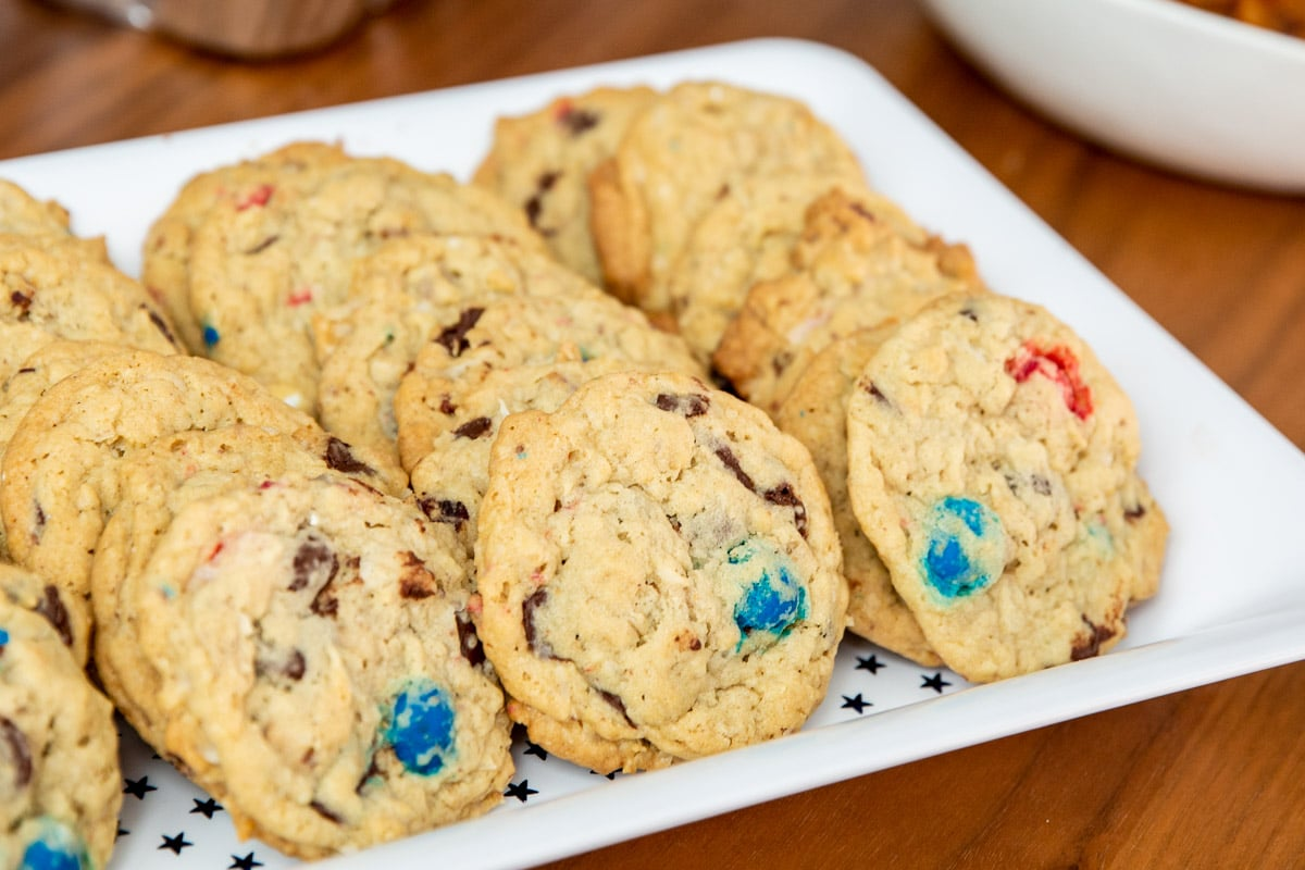 A plate of Cowboy Cookies.