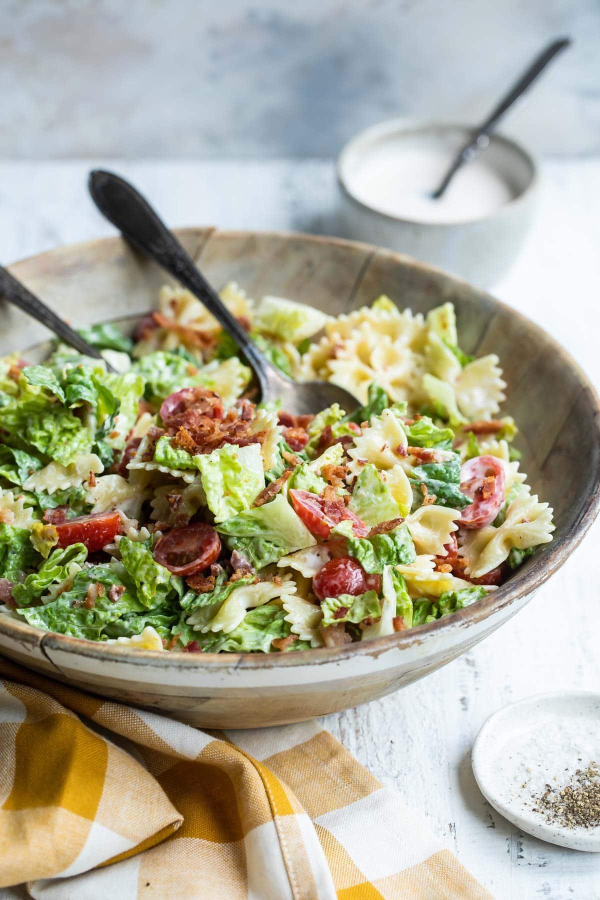 A bowl of BLT Pasta salad.