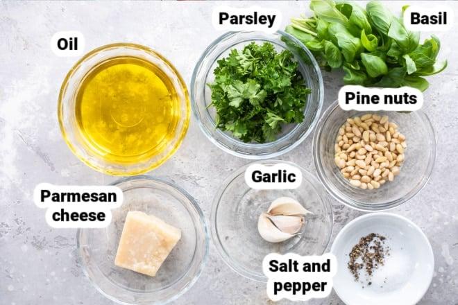 Labeled ingredients for basil pesto